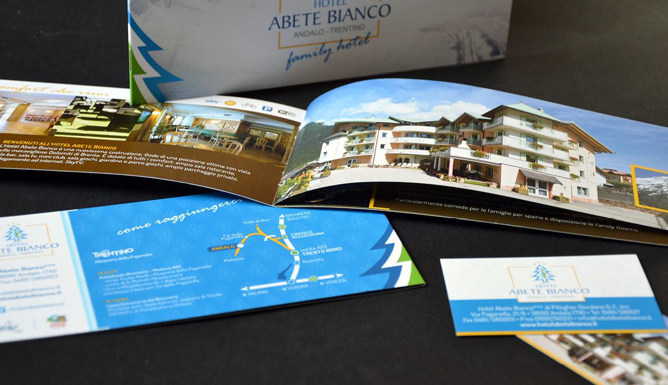 Hotel Abete Bianco Andalo depliant e biglietto da visita